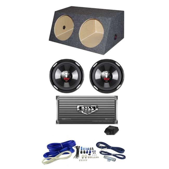 P106DVC + AR16002 + 4GAMPKIT-SFLEX + QSMBASS10 2) Boss P106DVC 10-Inch 2100W Subs + Sub Box + 1600W 2-Ch Amp + Amp Kit (Package)