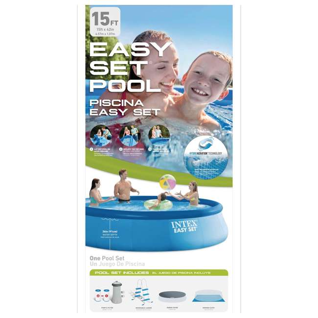 """26165EH-U-A Intex 15'x42"""" Inflatable Above Ground Pool w/ Ladder & Pump  (Open Box) (2 Pack) 6"""