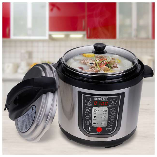 YBW60-GlassLid Geek Chef YBW60 11 in 1 Multi Function 6 Quart Slow and Pressure Cooker (2 Pack) 2