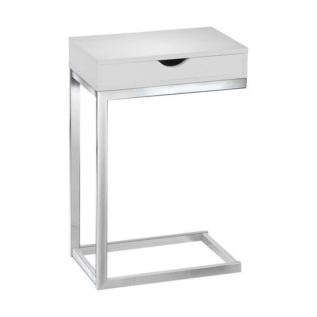 MS-VM3031-U-A Monarch Specialties Accent End Table with Drawer, White (Open Box) (2 Pack)