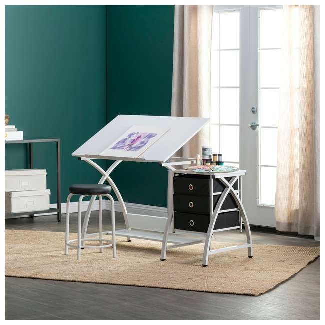 STDN-38016 SD STDN-38016 Comet 2 Piece Craft Table with Adjustable Top and Stool, White 6