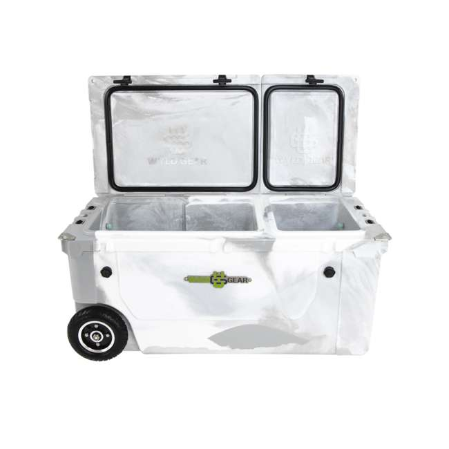 HC75-17W WYLD 75 Quart Pioneer Dual Compartment Insulated Cooler w/ Wheels, White/Grey 1