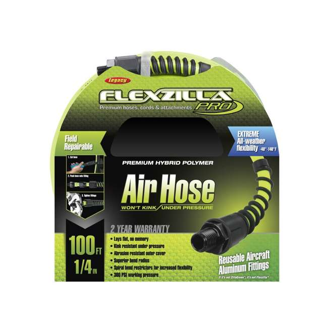LEG-HFZP14100YW2 Flexzilla Heavy Duty MNPT Fittings Pro Air Hose, 1/4 Inch x 100 Feet 3