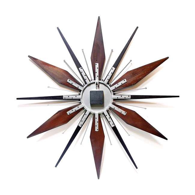15201NT Infinity Instruments Sunburst Mid-Century Utopia Metal Wall Clock, Dark Walnut 1