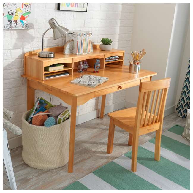 26707 KidKraft Avalon Wooden Kids Room Study Desk with Hutch & Chair Set, Natural 1