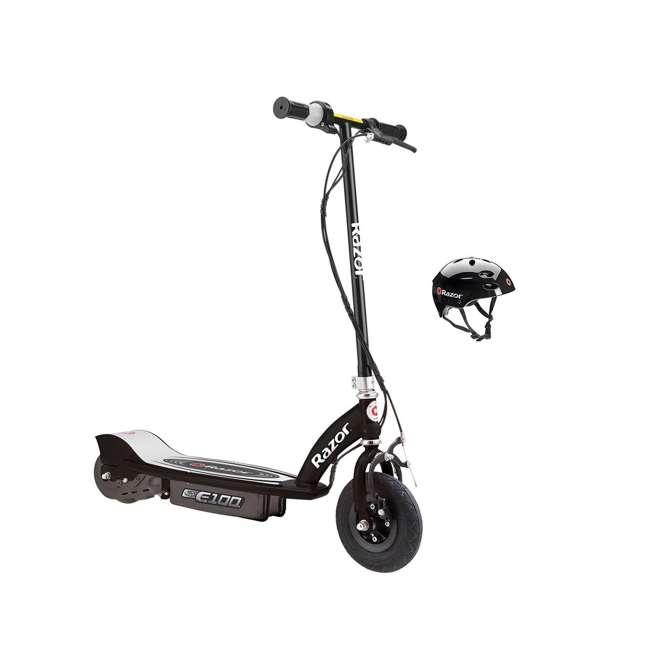 13110097 + 97778 Razor E100 Black Electric Scooter And Razor V17 Youth Helmet