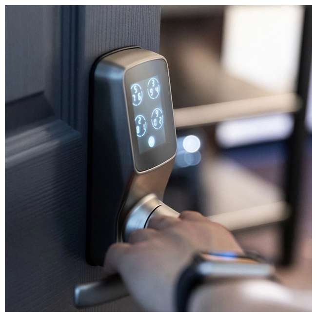 PGD728FSN + PGH200 Lockly Secure Plus Biometric Smart Deadbolt Lock, Nickel (2 Pack) w/ Door Sensor 5