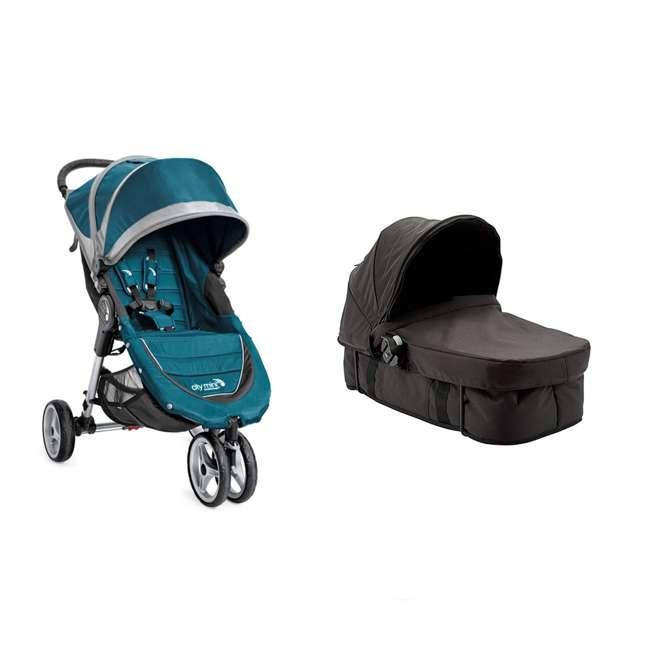 1959130 + 50926 Baby Jogger City Mini Compact Baby Travel Stroller + Pram Bassinet Kit