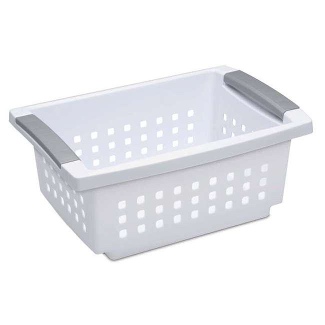 48 x 16608006 Sterilite 16608006 Small Stacking Basket with Titanium Accents, White (48 Pack) 1