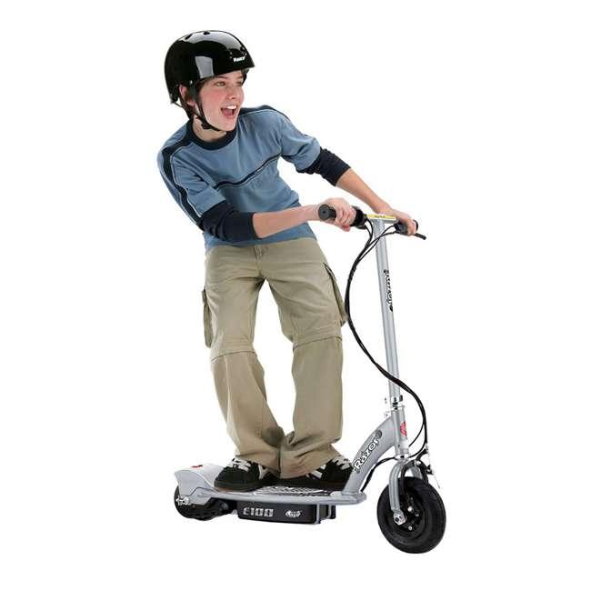13181112 + 97778 + 96784 Razor E100 Motorized Silver Electric Scooter w/ Black Helmet & Deluxe Safety Set 1