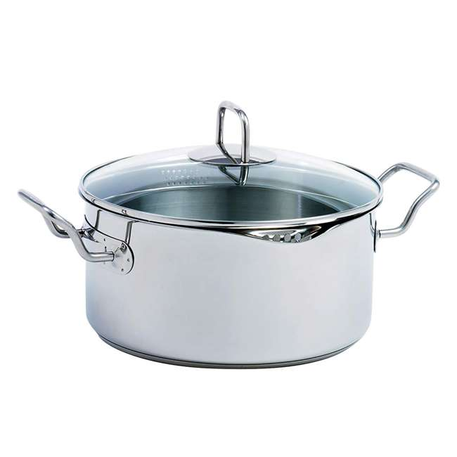 645 Norpro 645 Krona Stainless Steel 5 Quart Vented Cooking Pot with Straining Lid