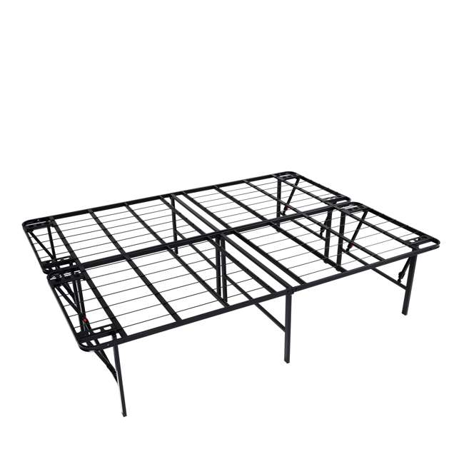 VMI-18FIB2-112-U-A intelliBASE Lightweight Bi-Fold Platform Black Metal Bed Frame, Full (Open Box)