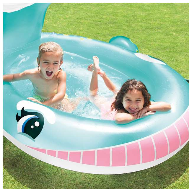 "57440EP Intex 57440EP 79"" x 77"" x 36"" Inflatable Whale Spray Kiddie Pool with Hose Spray 2"