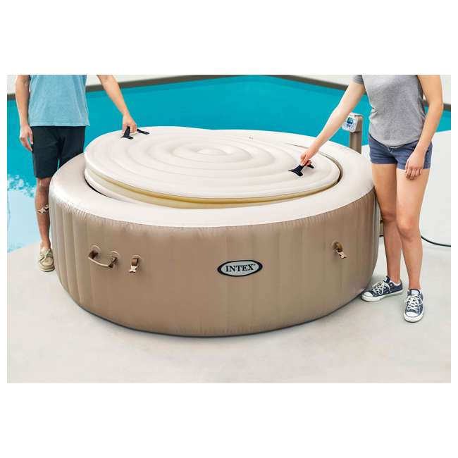 28403VM + 28523E + 28508E Intex PureSpa Bubble Massage 4 Person Inflatable Hot Tub w/ Cover & Bench Add On 9