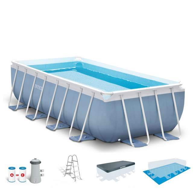 Intex 16 x 8 feet x 42 inches prism frame pool set 28317eh for Obi intex pool