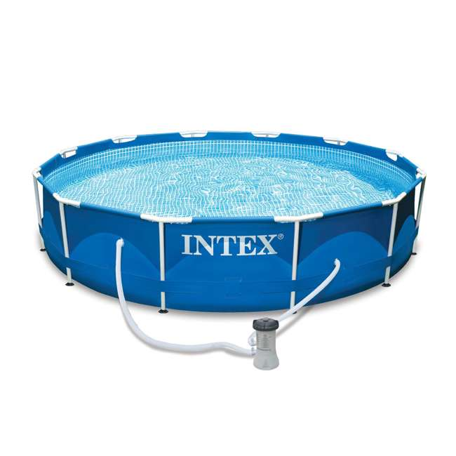 28211EH-U-A Intex 12 x 2.5 Foot Metal Frame Above Ground Pool and Filter (Open Box) (2 Pack)