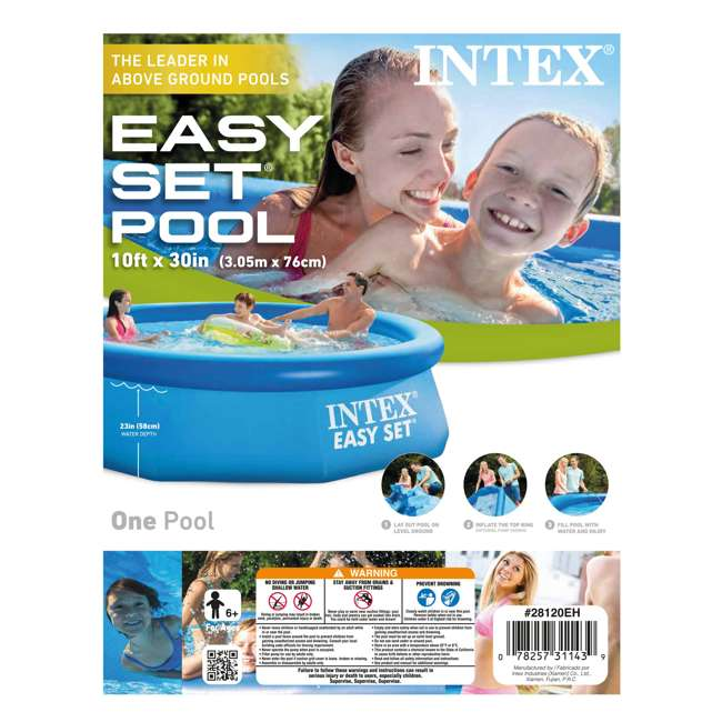 4 x 28120EH Intex Easy Set 10ft x 30ft x 30in Above Ground Inflatable Round Swimming Pool (4 Pack) 4