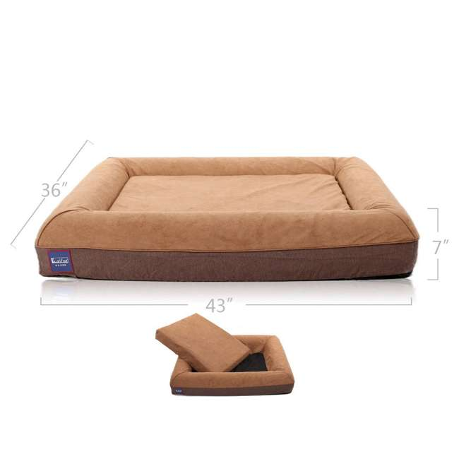 M1222 Laifug Large Waterproof Memory Foam Dog Bed Mattress, Chocolate 2