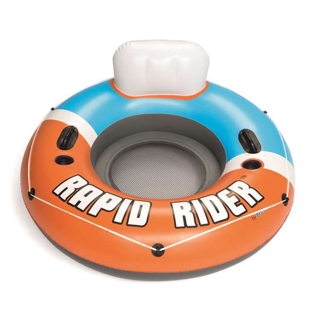43116E-BW-NEW-U-A Bestway CoolerZ Rapid Rider Inflatable River Tube, Orange (Open Box) (2 Pack) 3