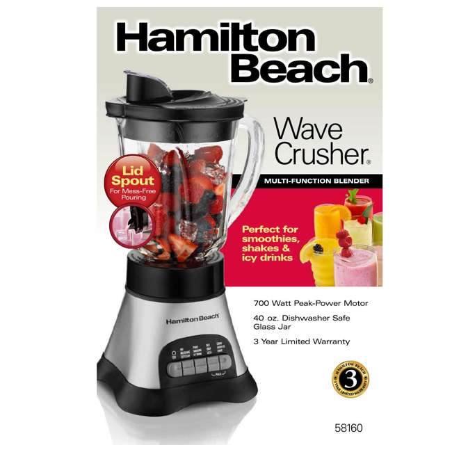 58160 Hamilton Beach 58160 Wave Crusher Glass Blender 40 Ounce, Silver (2 Pack) 3