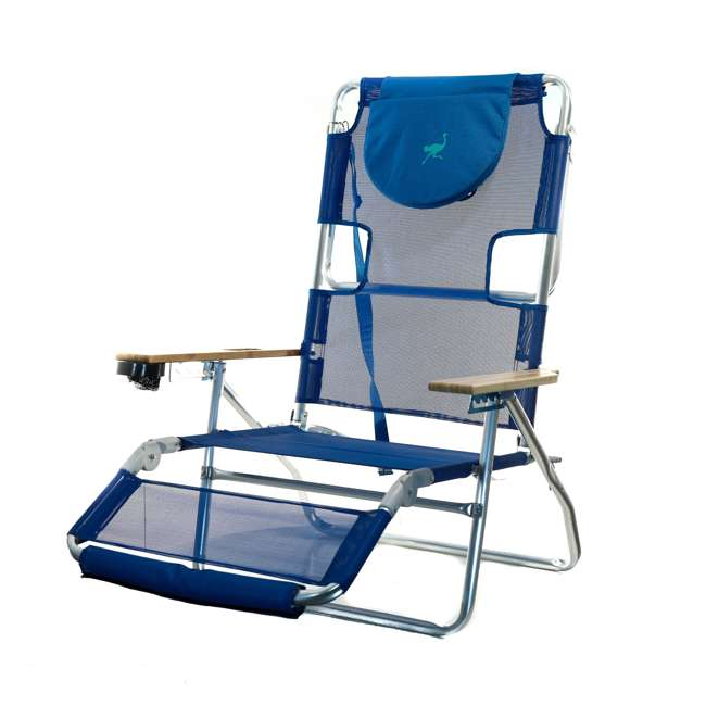 3N1-1001B-U-B Ostrich 3 N 1 Aluminum Frame 5 Position Reclining Beach Chair, Blue (Used)