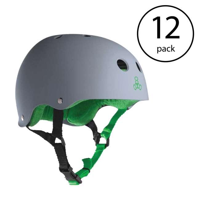 12 x T8-1077 Triple 8 Hardened Skate Helmet with Sweatsaver Liner, Carbon - Medium (12 Pack)