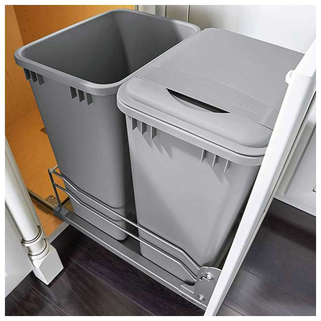 53WC-2150SCDM-217 Rev A Shelf 50 Quart Pull Out Sliding Double Waste Trash Container Bin, Silver 3