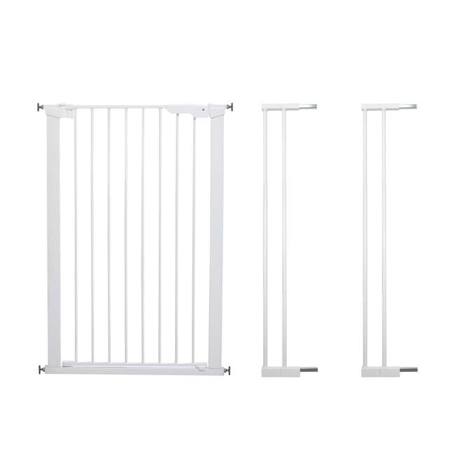 BBD-50914-2490 + BBD-5834-2400 BabyDan Scandinavian 31 Inch Pet Safety Gate & 2-Pack Gate Extensions, White