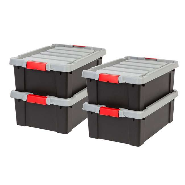 586526-4PK IRIS USA 10 Gallon Hard Plastic Store It All Tote Storage Box, Black (4 Pack)