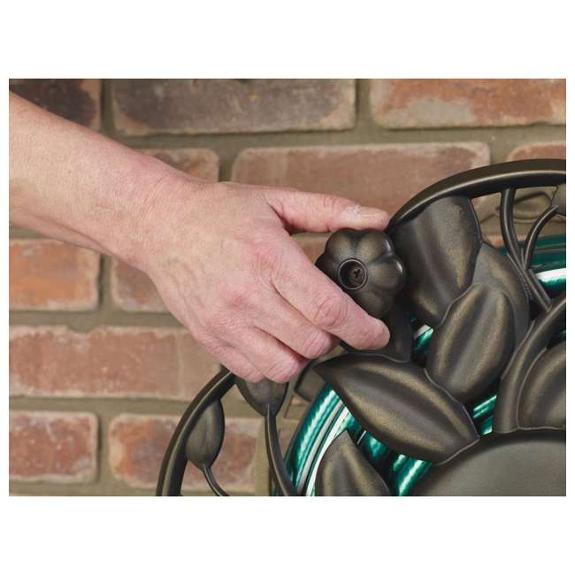 AMES-2397200 Ames Neverleak Decorative Leaf Wall Mount Hose Reel With 100-Foot Hose Capacity 2