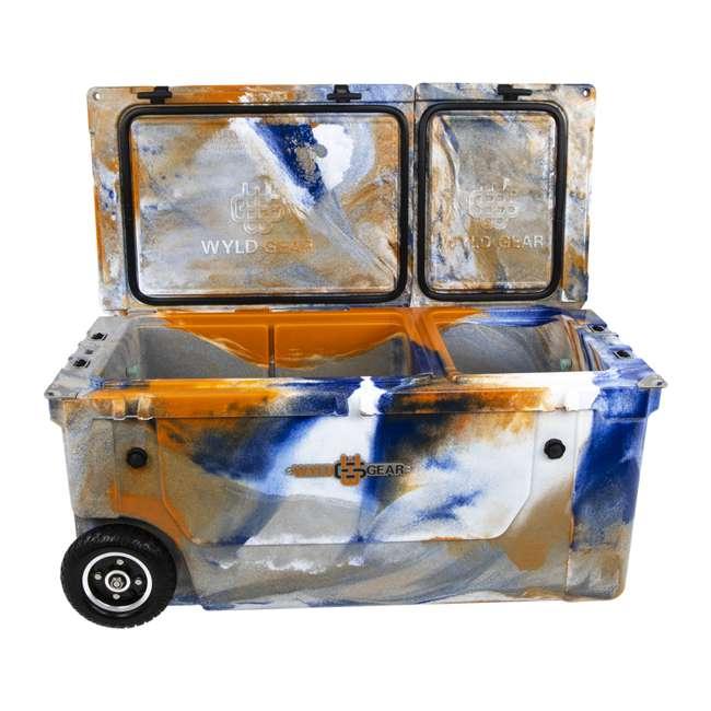 HC75-17ONW WYLD 75 Quart Pioneer Dual Compartment Insulated Cooler w/ Wheels, Blue/Orange 1