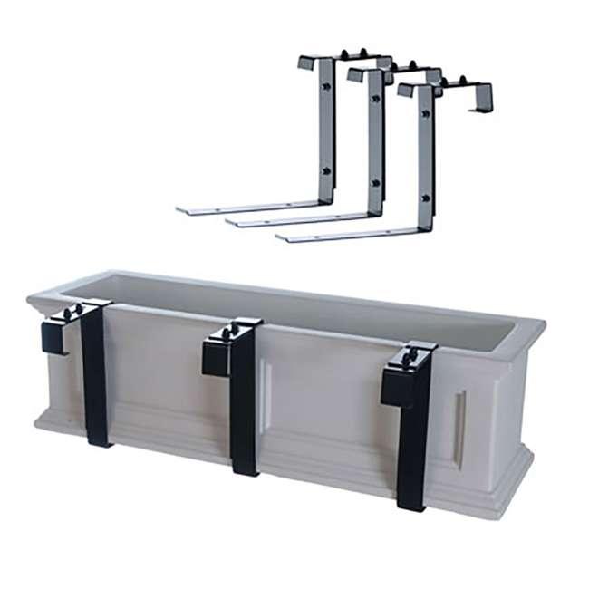MO-3833 Mayne Adjustable Deck Rail Porch 3 Piece Bracket for Window Box Planter, Black 1