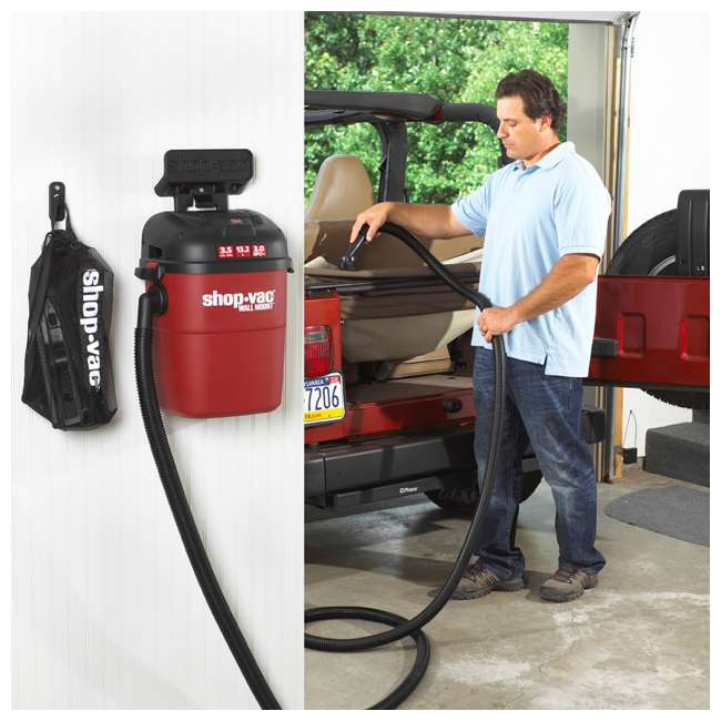 3940100 Shop Vac Wall Mount Portable 3.5 Gallon Wet Dry Vacuum Cleaner w/ 18 Foot Hose 8