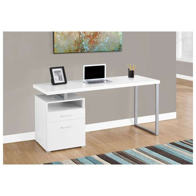 "MS-VM7144-U-B Monarch Specialties 60"" Contemporary Computer Desk with Drawer, White (Used) 2"