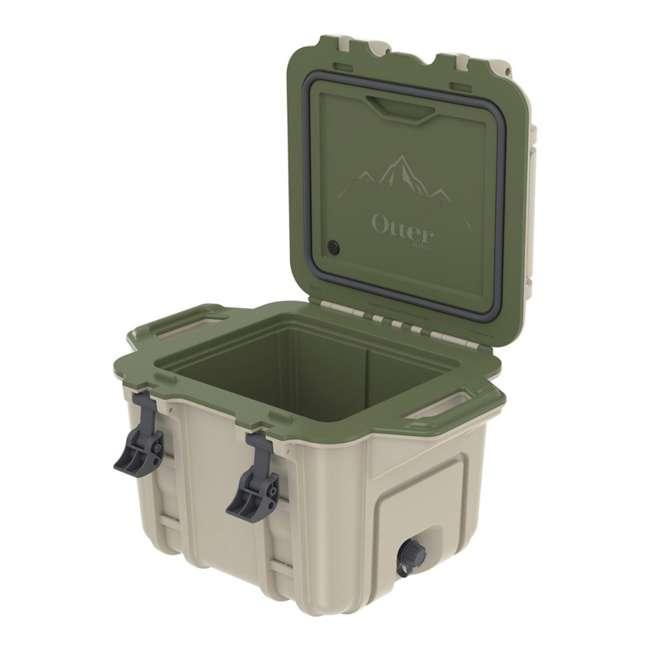 77-54865 OtterBox Venture Heavy Duty Outdoor Camping Fishing Cooler 25-Quarts, Tan/Green