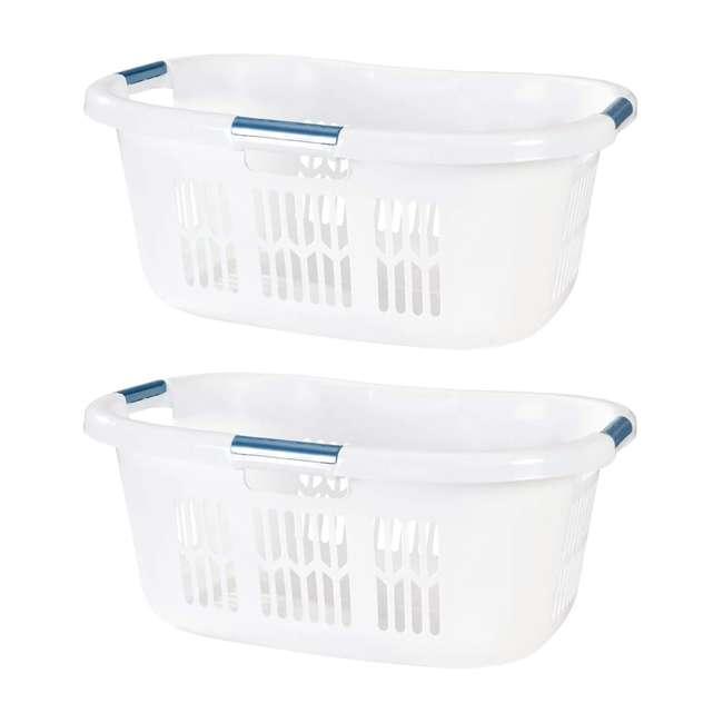 FG299587WHTRB Rubbermaid 2.1-Bushel Small Hip-Hugger Plastic Laundry Basket, White (2-Pack)