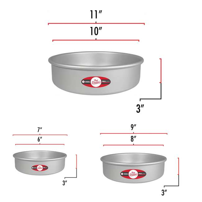 PRD-83 + PRD-63 + PRD-103 Fat Daddio's Anodized Aluminum Round Cake Pan with Solid Bottom (3 Sizes)