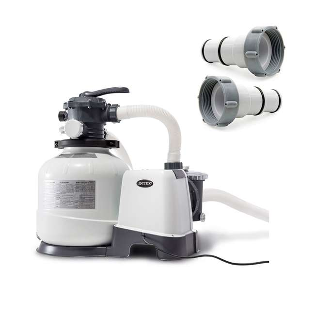 26647EG + 25007 Intex Pool Sand Filter Pump w/Threaded Hose Adapter (Pair)