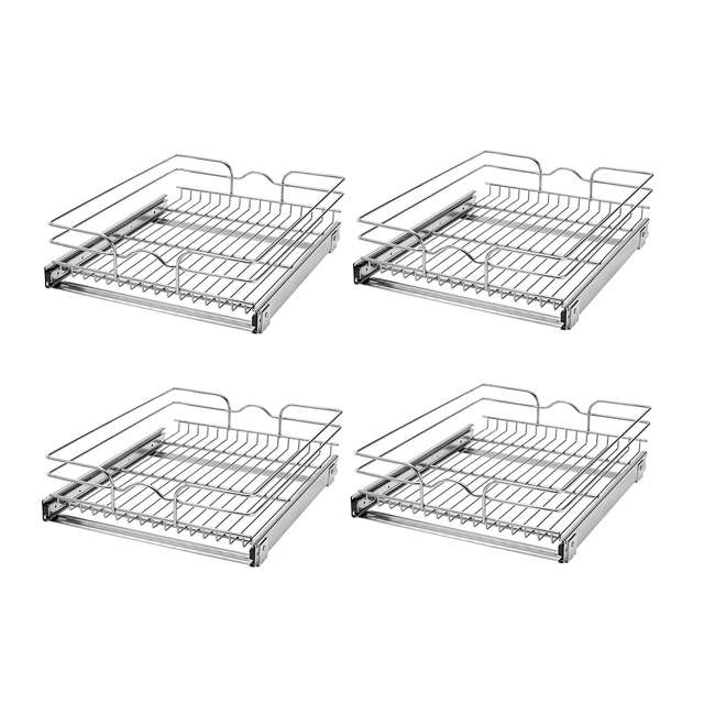 "4 x 5WB1-1822-CR Rev-A-Shelf 18"" Wide 22"" Deep Base Kitchen Cabinet Pull Out Wire Basket (4 Pack)"