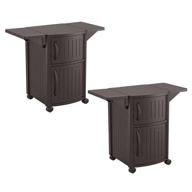 DCP2000JD Suncast Outdoor Meal Serving Station and Cabinet, Brown (2 Pack)