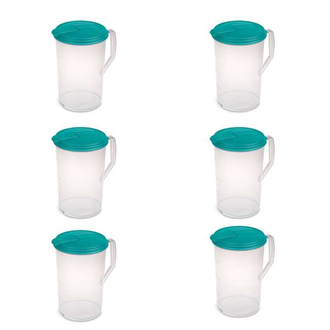 6 x 04880906 1-Gallon Round Plastic Pitcher, Clear with Blue Lid (6 Pack)