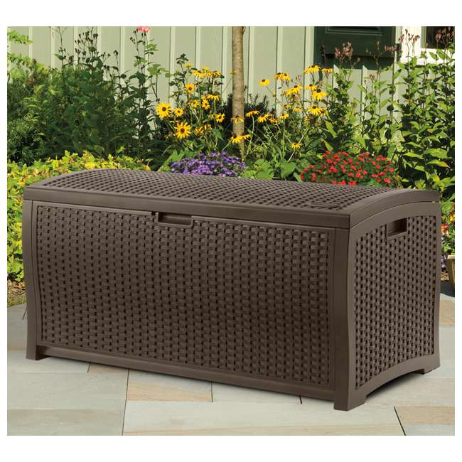 GH1732J + DBW7300 Suncast 33 Gal Hideaway Outdoor Trash Can and 73 Gal Waterproof Outdoor Deck Box 3