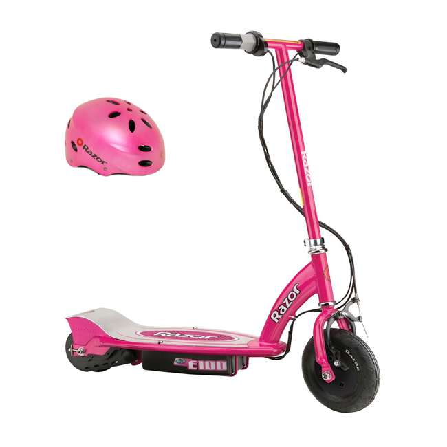 13111261 + 97783 Razor E100 Kids Motorized 24 Volt Electric Powered Ride On Scooter with Helmet