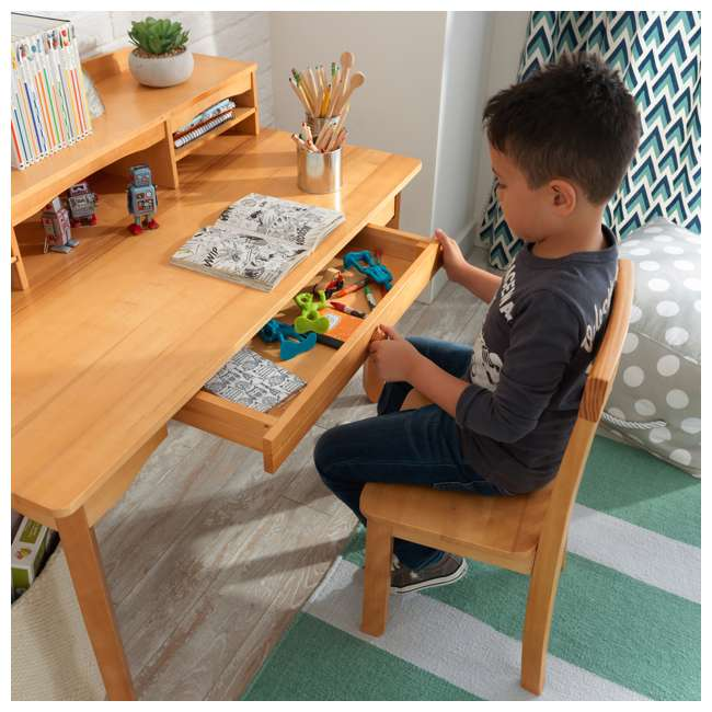 26707 KidKraft Avalon Wooden Kids Room Study Desk with Hutch & Chair Set, Natural 11