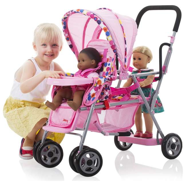 JVY-042 + JVY-002 Joovy Toy Doll Caboose Pretend Play Stroller & Car Seat, Pink Dot 4