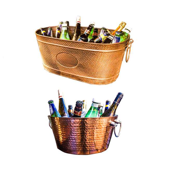 19088x3 + 17689x2x2 BREKX Copper Finish Ice Bucket Tub + Rose Copper Finish Steel Beverage Tub
