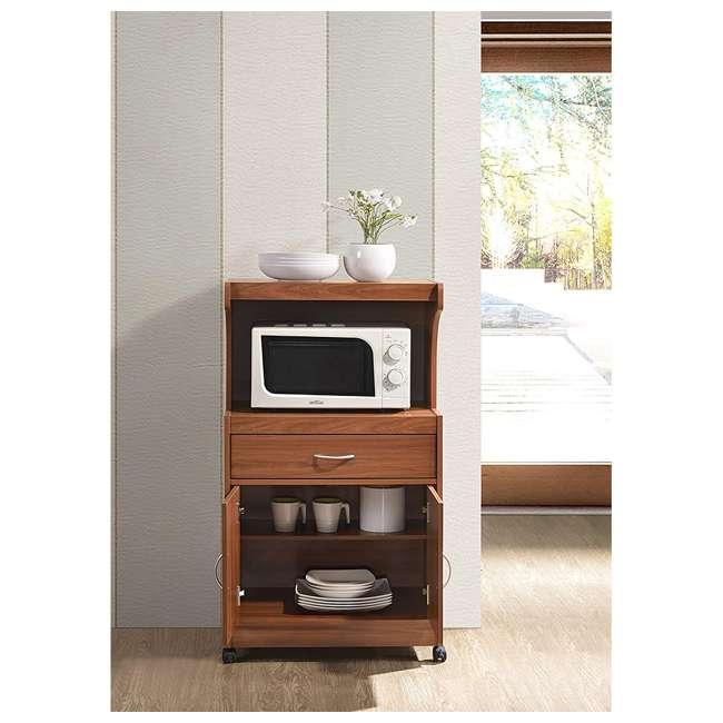 HIK72 CHERRY Hodedah Kitchen Dining Room Microwave Shelf Storage Cart with Wheels, Cherry 1