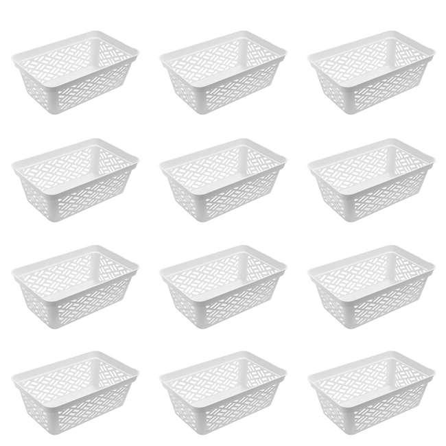 12 x FBA32137 Ezy Storage Medium Decorative Plastic Brickor Shelf Pantry Basket Bin (12 Pack)