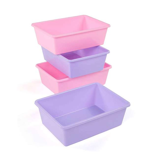 XL081 + XL104 Tot Tutors Large 4 Pink/ Purple Storage Bins and 4 Blue/ Teal Large Storage Bin 1