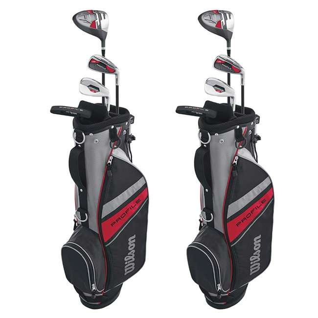 WGGC6132L Wilson 2017 Profile Junior Left Hand Small Golf Set w/ Red Golf Bag (2 Pack)